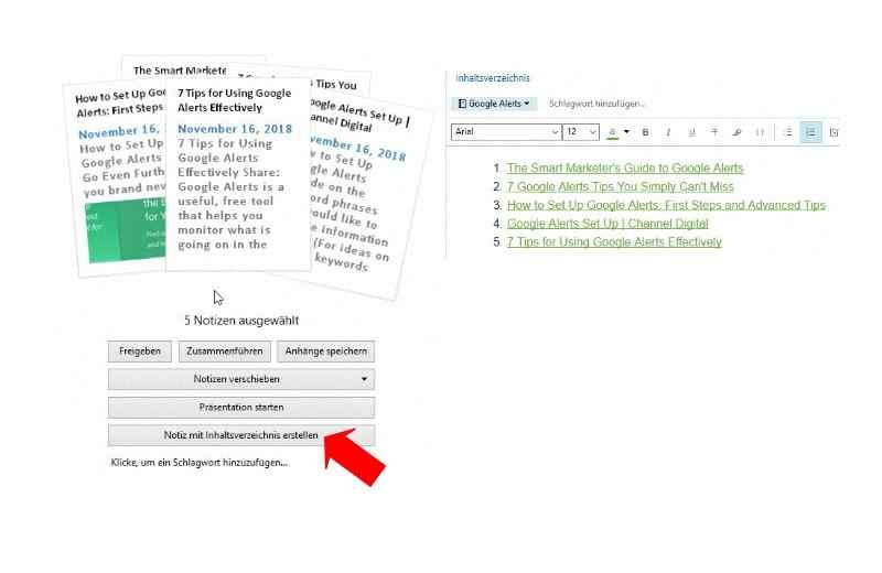 Evernote Notizen mit Inhaltsverzeichnis zusammenführen